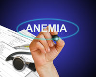 Anemia Concept. Writing word  Anemia with marker on gradient background made in 2d software Stock Photos