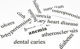 Anemia. Concepto de la atención sanitaria de enfermedades causadas por la nutrición malsana Imagen de archivo