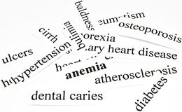 Anemia. Health care concept of diseases caused by unhealthy nutrition Stock Image