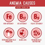 Anemia Icons Set. Anemia causes icons set. Medical and healtcare concept in red, white and pink colors. Editable vector illustration in modern style Royalty Free Illustration
