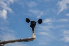 Anemometer with beautiful blue sky in the solar plant in thailand Royalty Free Stock Photography