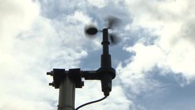 Anemometer for measuring wind speed in meteorology. Rotation indicates wind speed. Anemometer for measuring wind speed in meteorology. Rotation indicates wind stock footage