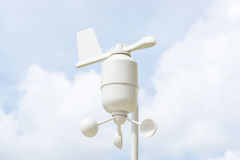 Anemometer Meteorology station. Wind meter with blur background Stock Images