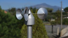 Anemometer on roof. Close up of aluminum anemometer on roof stock video footage