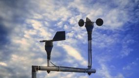 Anemometer with wind vane for measure the wind speed at meteorology station. Cup anemometer with wind vane for measure the wind speed at meteorology station stock video footage