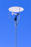 Anemometer. Windmill style anemometer with a canopy on blue sky stock photos