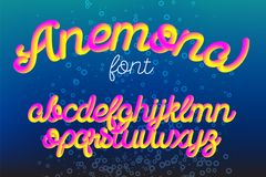 Anemona color 3D alphabet vector pipe font. On black background Stock Photos