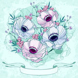 Anemone background invitation card Royalty Free Stock Image