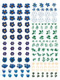Anemone blue flower ceramic set Royalty Free Stock Image