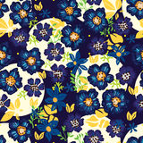 Anemone blue flower dark seamless pattern. This illustration is design Anemone blue flower in dark and abstract bright in seamless pattern Stock Photography