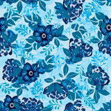 Anemone blue flower group seamless pattern. This illustration is design blue theme with anemone flowers and leaves in seamless pattern vector illustration