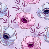Anemone floral pattern. Beautiful and elegant floral seamless pattern stock illustration