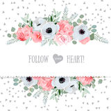 Anemone, rose, pink flowers and decorative eucaliptus leaves vector mirrored design card Stock Photos