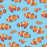 Anemonefish (Clownfish) cyan seamless vector pattern Stock Photo