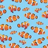 Anemonefish (Clownfish) cyan seamless vector pattern Stock Photo