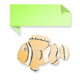 Anemonefish with text box made from tissue paper-craft Royalty Free Stock Photo