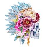 Anemonen en schedel royalty-vrije illustratie