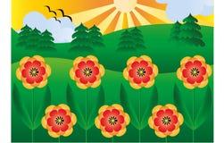 Anemoner i solen vektor illustrationer