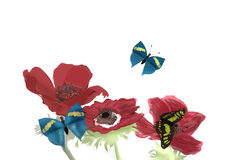 Anemones and Butterflies. A vibrant illustration of Poppy Anemones and butterflies, hand drawn on computer Stock Photography
