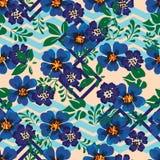 Anemonowego błękitnego kwiatu diamentowego szewronu bezszwowy wzór Fotografia Stock