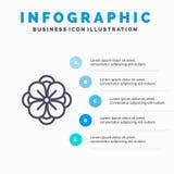 Anemoon, Anemone Flower, Bloem, de Lijnpictogram van de de Lentebloem met infographicsachtergrond van de 5 stappenpresentatie royalty-vrije illustratie