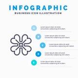 Anemoon, Anemone Flower, Bloem, de Lijnpictogram van de de Lentebloem met infographicsachtergrond van de 5 stappenpresentatie stock illustratie