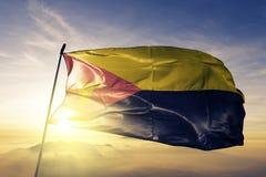 Anenii Noi District van stof die van de de vlag de textieldoek van Moldavië op de hoogste mist van de zonsopgangmist golven vector illustratie
