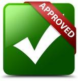 Anerkannt validieren Sie grünen quadratischen Knopf der Ikone Stockbild