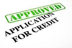 Anerkannte Anwendung für Kredit Lizenzfreies Stockfoto
