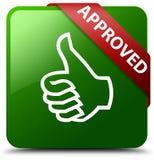 Anerkannte Daumen up grünen quadratischen Knopf der Ikone Lizenzfreies Stockfoto
