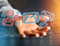 Anerkannte E-Mail-- und Spammitteilung angezeigt auf einem futuristischen interf Lizenzfreies Stockbild