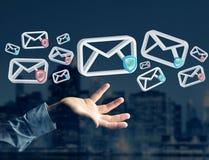 Anerkannte E-Mail-- und Spammitteilung angezeigt auf einem futuristischen interf Stockfoto