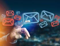 Anerkannte E-Mail-- und Spammitteilung angezeigt auf einem futuristischen interf Lizenzfreie Stockfotos