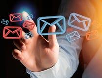 Anerkannte E-Mail-- und Spammitteilung angezeigt auf einem futuristischen interf Lizenzfreie Stockfotografie
