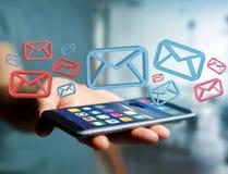 Anerkannte E-Mail-- und Spammitteilung angezeigt auf einem futuristischen interf Stockbilder