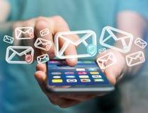 Anerkannte E-Mail-- und Spammitteilung angezeigt auf einem futuristischen interf Stockfotos