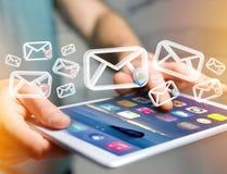 Anerkannte E-Mail-- und Spammitteilung angezeigt auf einem futuristischen interf Lizenzfreies Stockfoto