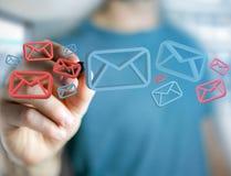 Anerkannte E-Mail-- und Spammitteilung angezeigt auf einem futuristischen interf Lizenzfreie Stockbilder
