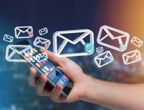 Anerkannte E-Mail-- und Spammitteilung angezeigt auf einem futuristischen interf Stockbild