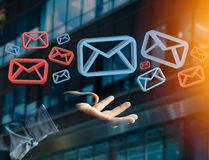 Anerkannte E-Mail-- und Spammitteilung angezeigt auf einem futuristischen interf Stockfotografie
