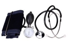 Aneroid Blood Pressure Kit isolated on white with Clipping Path. Blood pressure monitor and stethoscope isolated on white with Clipping Path royalty free stock photos