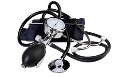 Aneroid Blood Pressure Kit isolated on white with Clipping Path. Blood pressure monitor and stethoscope isolated on white with Clipping Path stock image