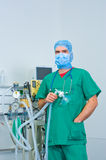 Anesthesiologist. In front of anesthetic machine Stock Photography