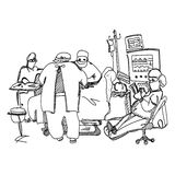 Anesthesiologist resting during operation. Hand drawn illustration Royalty Free Stock Images