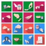 Anesthetic injection, examination of the tooth and other web icon in flat style. wound treatment, vision check icons in. Anesthetic injection, examination of the Royalty Free Stock Image