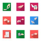 Anesthetic injection, examination of the tooth and other web icon in flat style. wound treatment, vision check icons in Stock Photography
