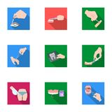 Anesthetic injection, examination of the tooth and other web icon in flat style. wound treatment, vision check icons in. Anesthetic injection, examination of the Royalty Free Stock Photo