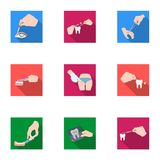 Anesthetic injection, examination of the tooth and other web icon in flat style. wound treatment, vision check icons in Stock Images