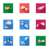 Anesthetic injection, examination of the tooth and other web icon in flat style. wound treatment, vision check icons in Stock Photo