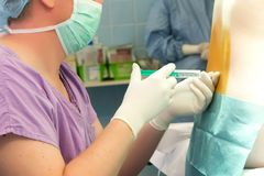 Anesthésie spinale Photographie stock libre de droits